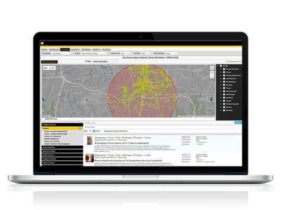 Intelligence-led public safety tool to search and filter social media information at a location.