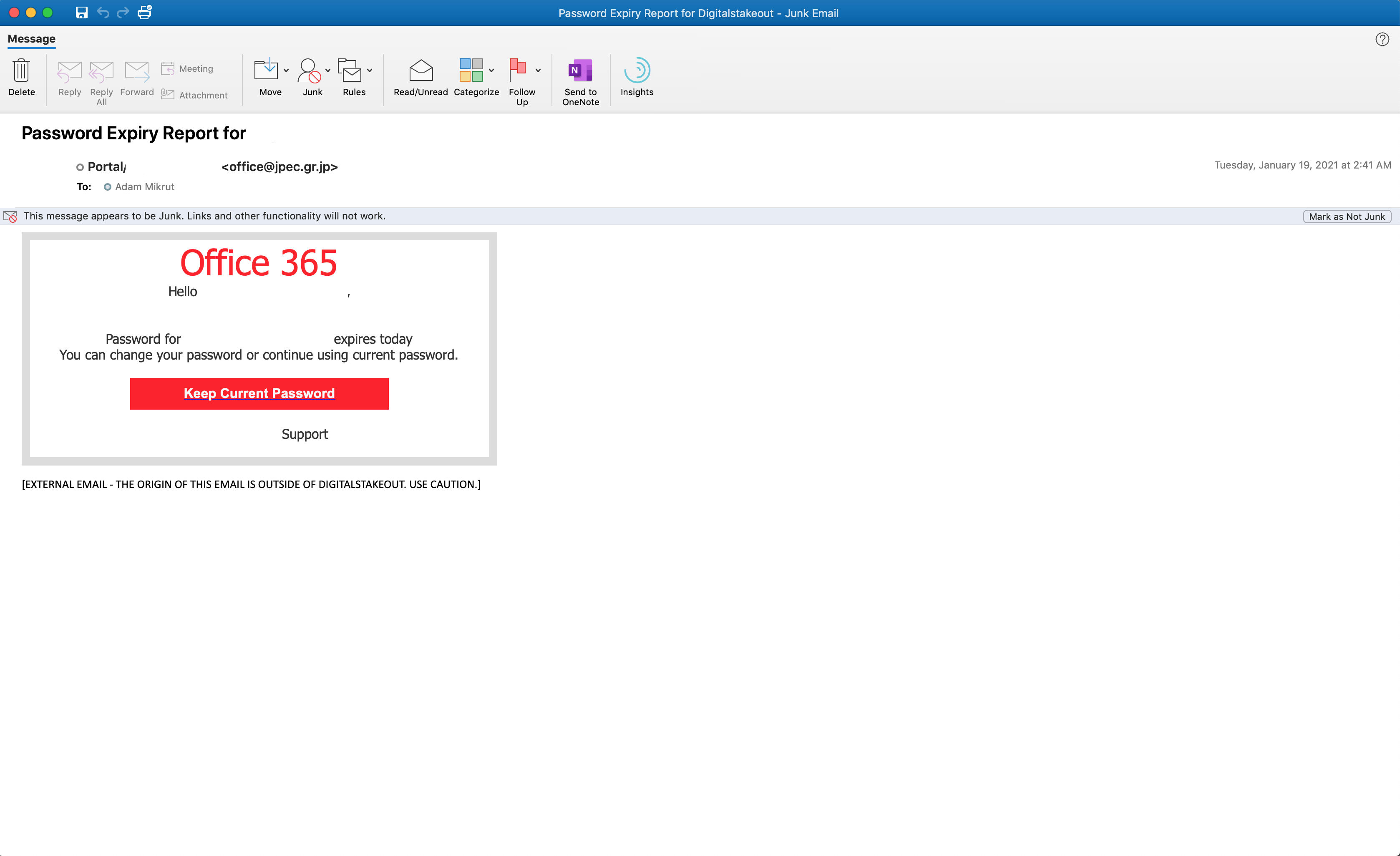 an example of an phishing attack