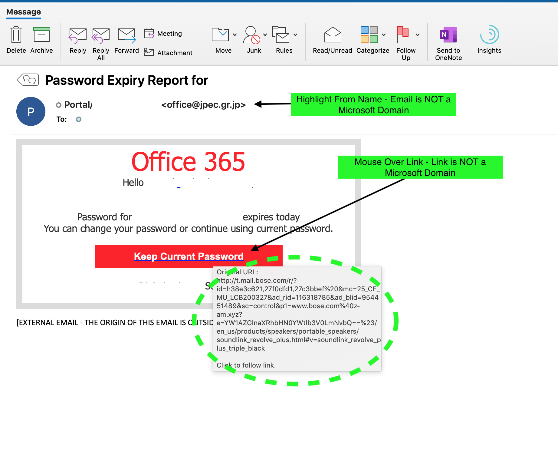 spotting a phishing office 365 attack